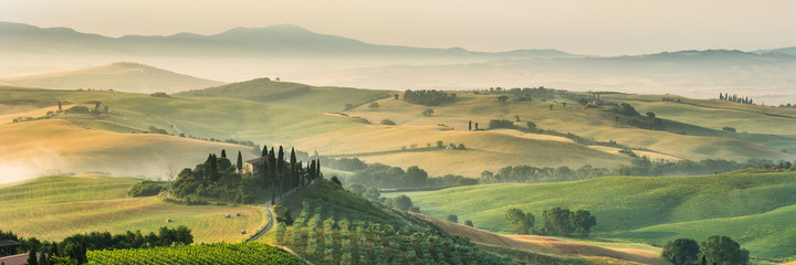 Spoed Foto op Canvas Beige summer landscape of Tuscany, Italy.