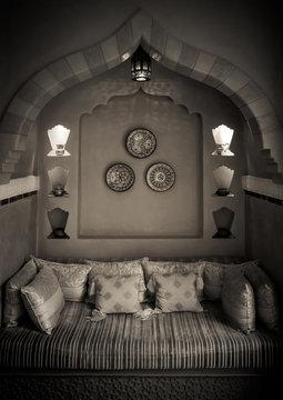 Moroccan Living-room Interior Design in Black&White