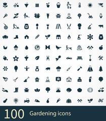 gardening 100 icons universal set