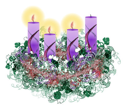 Decorated floral Advent wreath with three advent candles burning