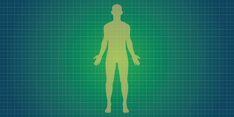 human body silhouette with blue print concept