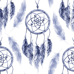 Watercolor ethnic tribal hand made navy blue monochrome feather dream catcher seamless pattern texture background