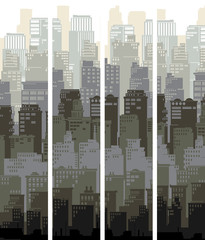 Vertical banners of cartoon big city and sun.