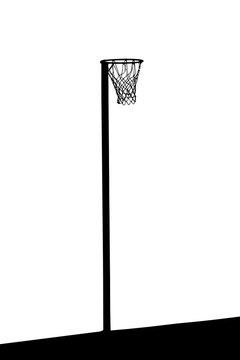 Silhouette of goalpost with net for korfball, netball, basketbal