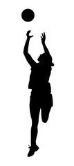 Silhouette of korfball ladies league girl player catching ball