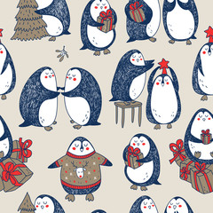 vector christmas seamless pattern with hand drawn penguins