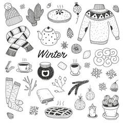 hand drawn cute vector winter set