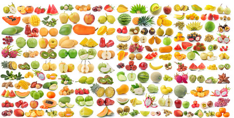 set of fruit isolated on white background Wall mural