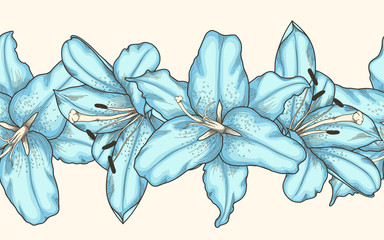 seamless horizontal frame element of blue lilies flowers . Hand-drawn contour lines and strokes.