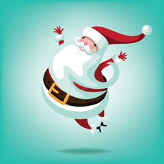 Cheerful leaping Santa. EPS 10 vector illustration Christmas greeting card design.