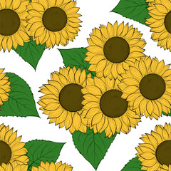 seamless background with sunflowers. Hand-drawn contour lines and strokes