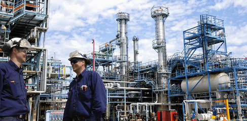 fuel and oil workers inside chemical refinery industry