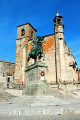Saint Martin's church and statue of Fransisco Pisarro. Trujillo.