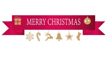 Décorations de Noël suspendus, or, isolé, fond