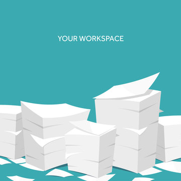 Vector illustration. Flat background Paperwork ,office routine, documents. Workspace