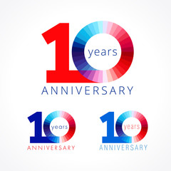 10 anniversary red and blue logo. The colorful template icon of 10th birthday.