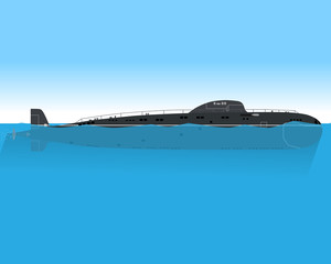 The modern submarine is floating in the sea on a combat mission. Vector illustration