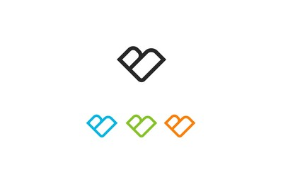 letter b love logo full color abstract