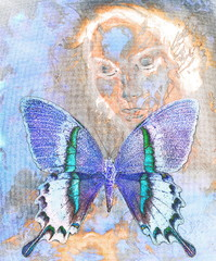 woman and  color butterfly, mixed medium, abstract color background.