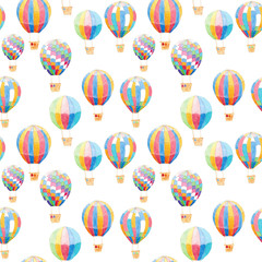 Watercolor Air Balloons Pattern background