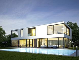 Moderne Villa mit Pool 2 am Abend