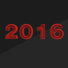 Breaking red digits 2016 on black background New Year banner