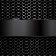 geometric pattern of hexagons with black metallic banner