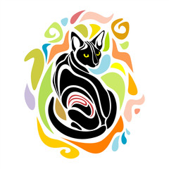 Black Cat Vector Decorative creative colorful graphic design