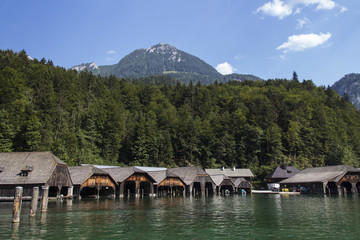 Boathouses at the Koenigssee lake close to Berchtesgaden, Germany, 2015