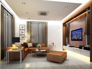 3d render of interior living