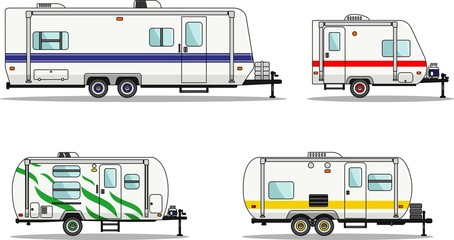 Set of travel trailer caravans on a white background in flat style. Vector illustration