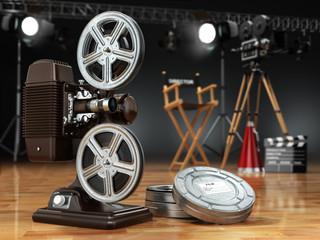 Video, movie, cinema concept. Vintage projector, retro camera, r