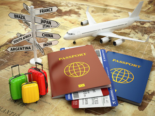 Travel or tourism concept. Passport, airplane, airtickets, bagga