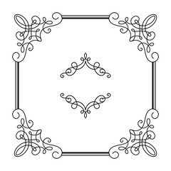 Square calligraphic frame in retro style on white