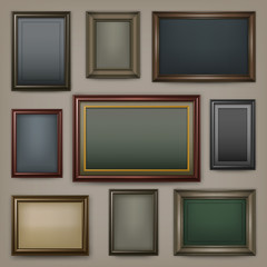 Picture wooden frames on dark background, vector illustration