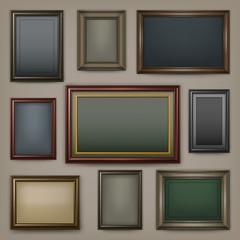 Picture wooden frames on dark background, vector illustration