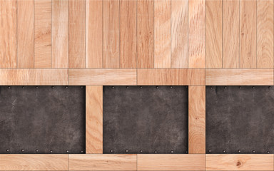 Wooden background with leather inserts