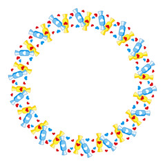 Round frame with candies