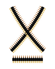 Bandolier with bullets. Ammunition belt. Tape cartridges for sub