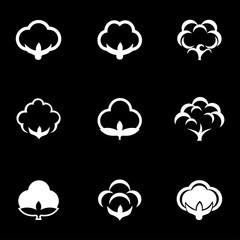 Vector white cotton icon set. Cotton Icon Object, Cotton Icon Picture, Cotton Icon Image - stock