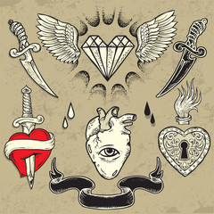 Set of Heart shaped tattoo elements