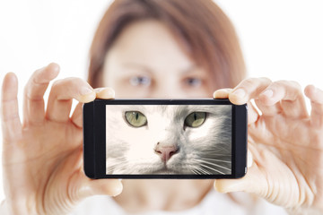 beautiful woman takes a selfie and become a cat