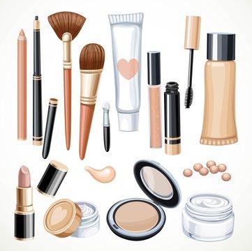 Set of cosmetics objects pencil, brush, blush, lipstick, mascara