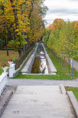 Picturesque water canal in autumn time Kadriorg park, Tallinn, Estonia