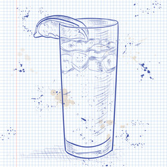 Cocktail Dark 'N' Stormy on a notebook page