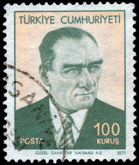 Stamp printed in Turkey shows a portrait of Kemal Ataturk