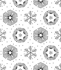 Seamless black and white hand-drawn seamless ornament