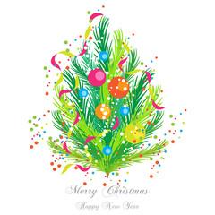 Abete Stilizzato con Addobbi - Merry Christmas