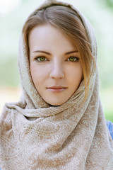 alm beautiful young woman in head scarf