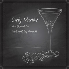 Cocktail Dirty Martini on black board